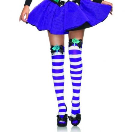 Mad Hatter Thigh High Stockings with Bow